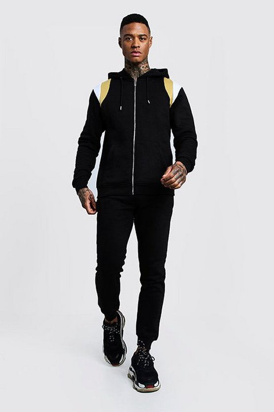 Half Zip Hooded Tracksuit With Side Panels