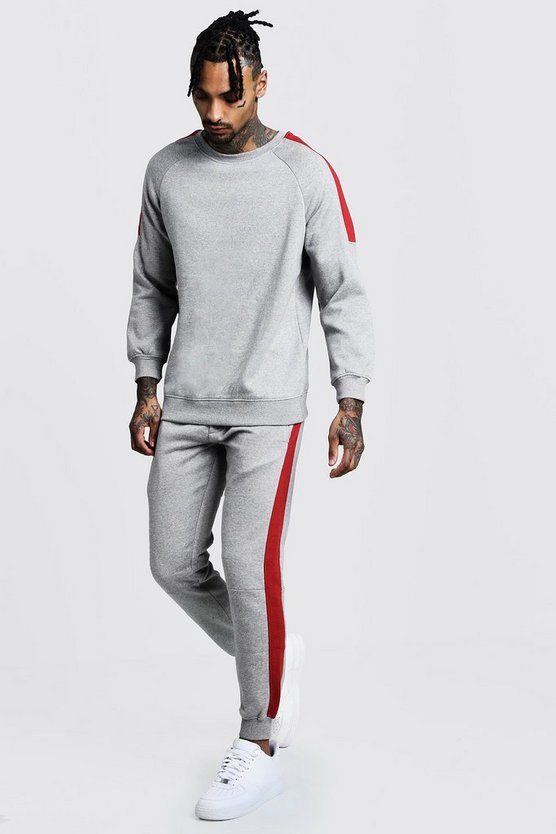 Mens Sweater Tracksuit With Side Panels