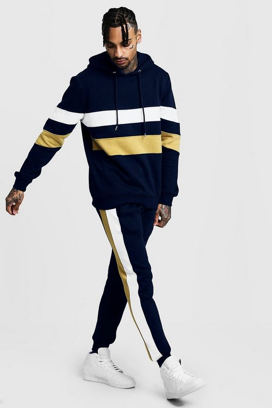Mens Navy Colour Block Hooded Fleece Tracksuit