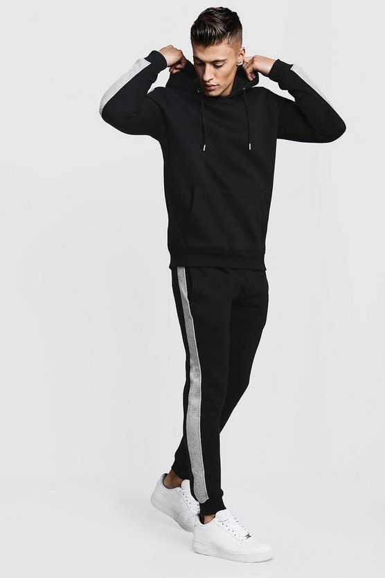 Mens Black Hooded Tracksuit With Colour Block Sleeves
