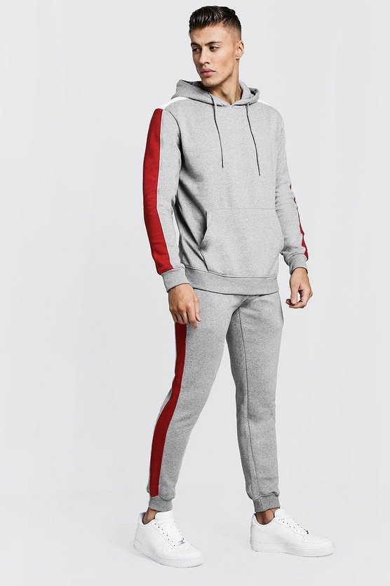 Hooded Tracksuit With Colour Block Sleeves
