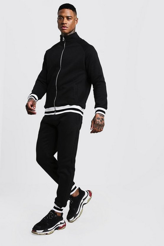 Mens Black Funnel Neck Fleece Tracksuit With Contrast Rib