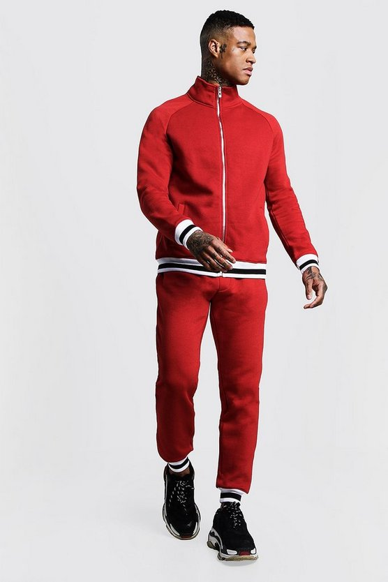 Mens Red Funnel Neck Fleece Tracksuit With Contrast Rib