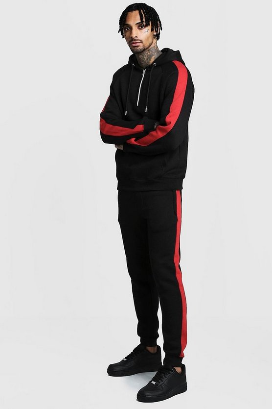 Mens Black Zip Hooded Tracksuit With Contrast Panels