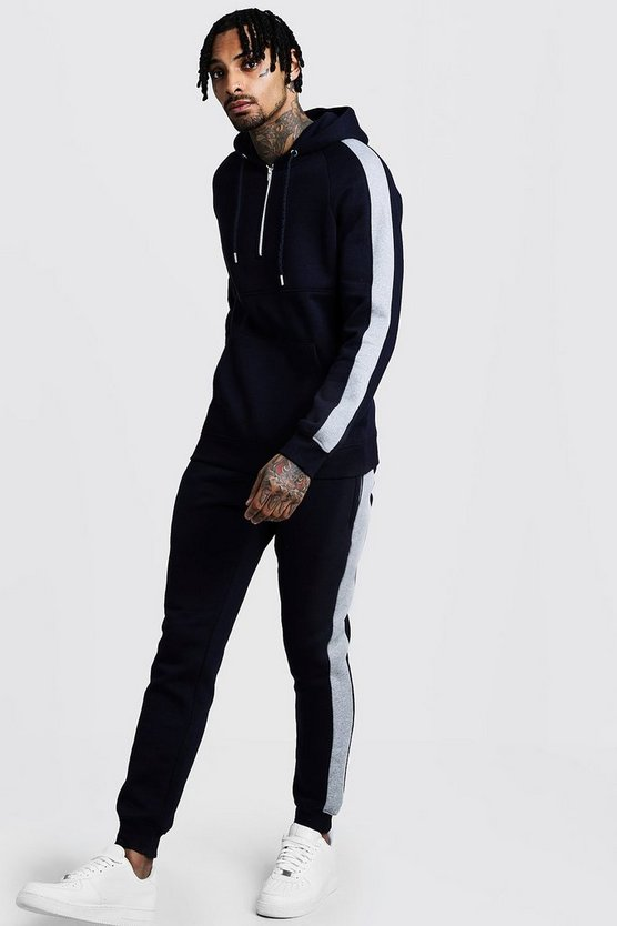 Zip Hooded Tracksuit With Contrast Panels