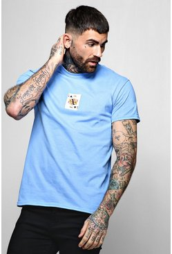 Mens Blue King Card Print T-Shirt