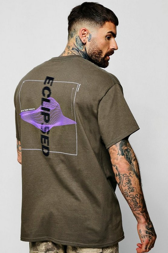 Mens Khaki Oversized Front + Back Graphic T-Shirt