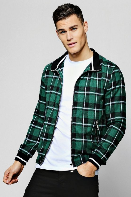 Mens Green Check Harrington With Stripe Rib