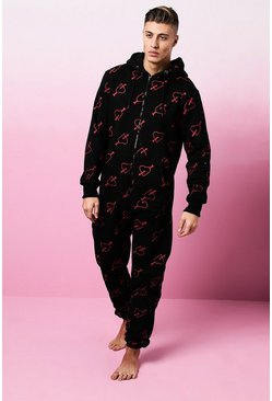 Mens Black Valentines Arrow Heart Print Onesie