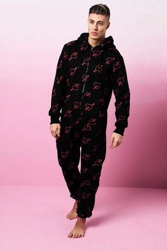 Valentines Arrow Heart Print Onesie