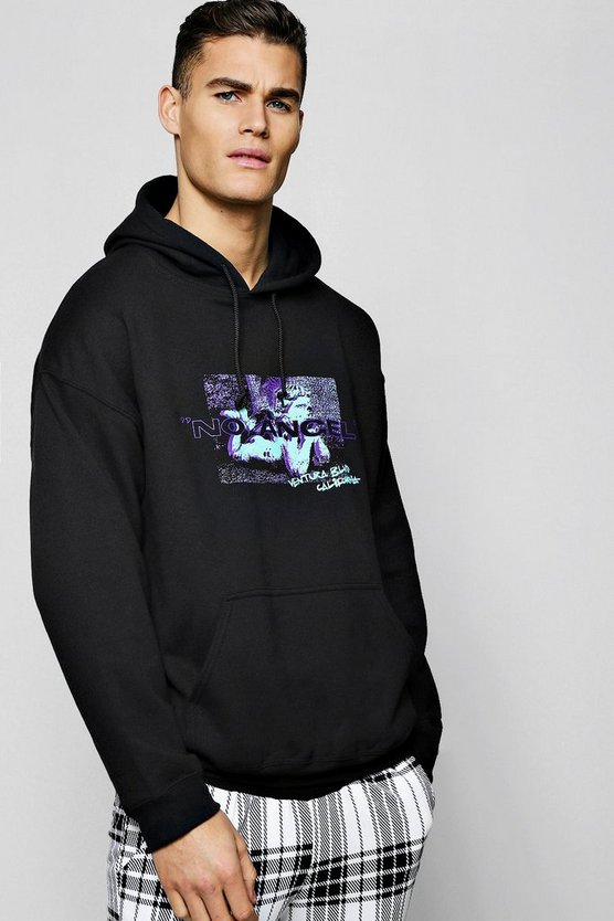 Mens Black Oversized No Angel Print Hoodie