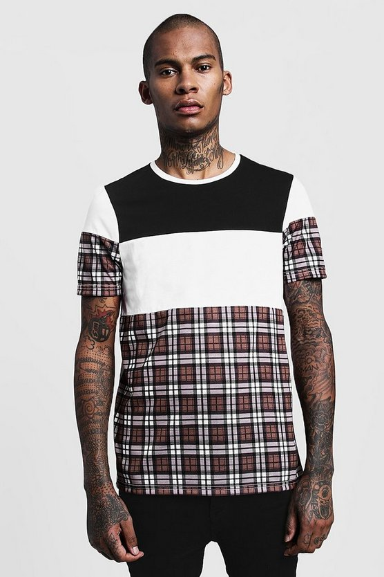 Colour Block With Check Crew Neck T-Shirt