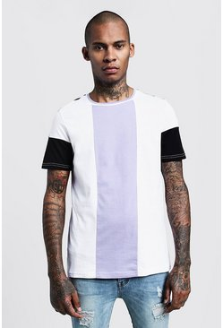 Mens White Lilac Colour Block Panel T-Shirt