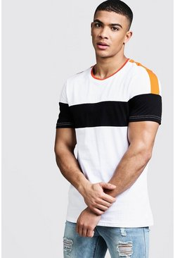 Mens White With Orange Detail Colour Block T-Shirt