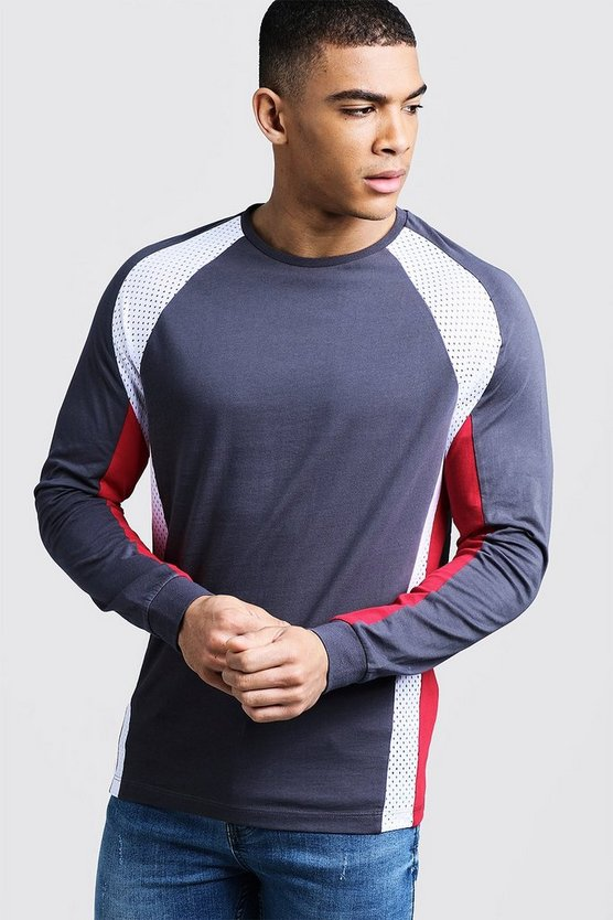 Long Sleeve Racer Tee With Mesh