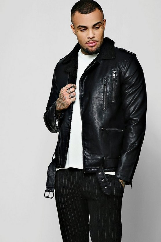 Mens Black PU Biker Jacket