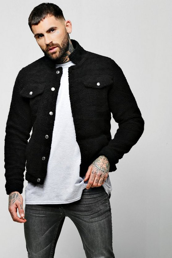 Mens Black Borg Trucker Jacket