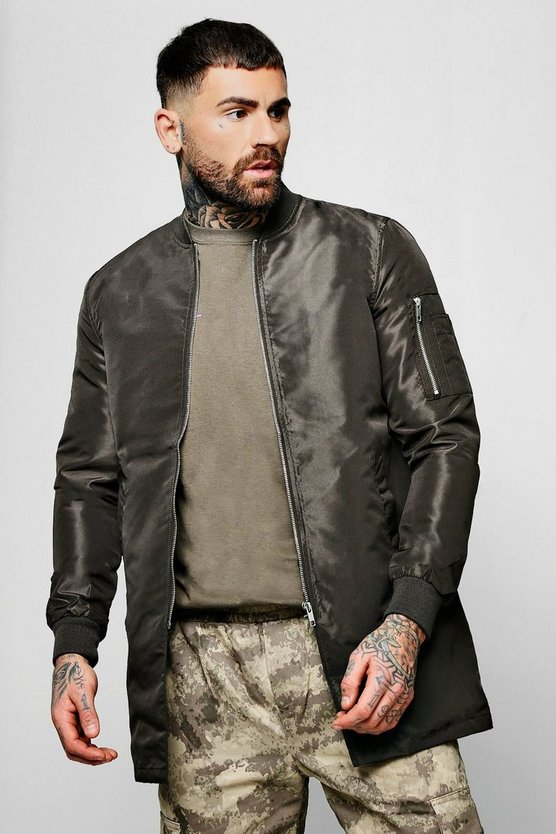 Nylon Longline Bomber Neck Jacket