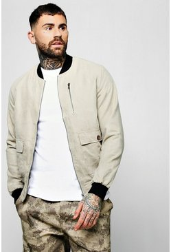 Mens Beige Suedette Utility Bomber