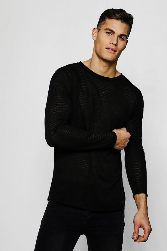 Mens Black Lightweight Drop Shoulder Sweater