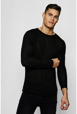 Mens Black Lightweight Drop Shoulder Jumper