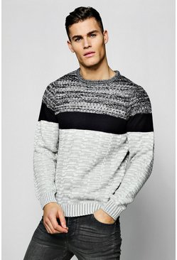 Mens Colour Block Jumper