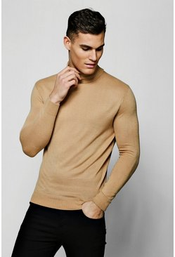 Mens Camel Roll Neck Sweater