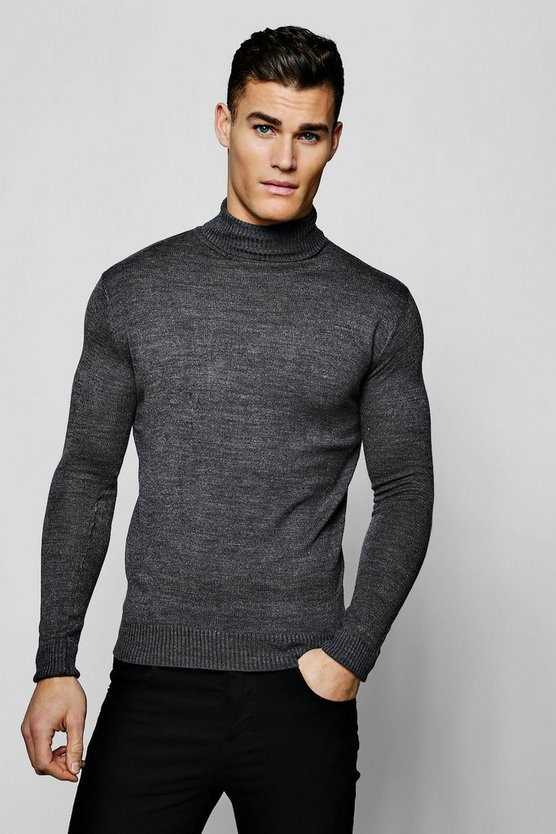Mens Charcoal Roll Neck Jumper