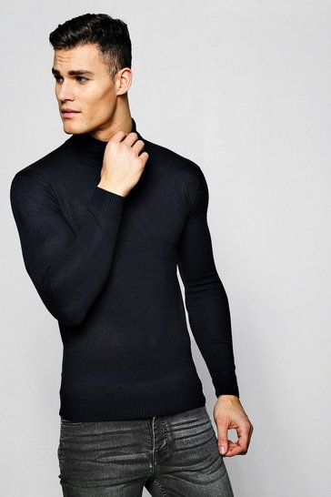 Mens Navy Roll Neck Jumper