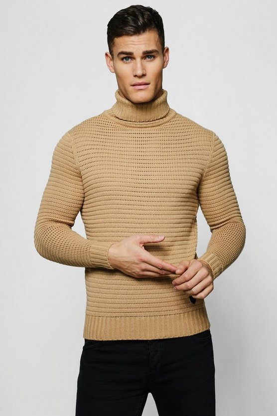 Mens Beige Roll Neck Ribbed Jumper