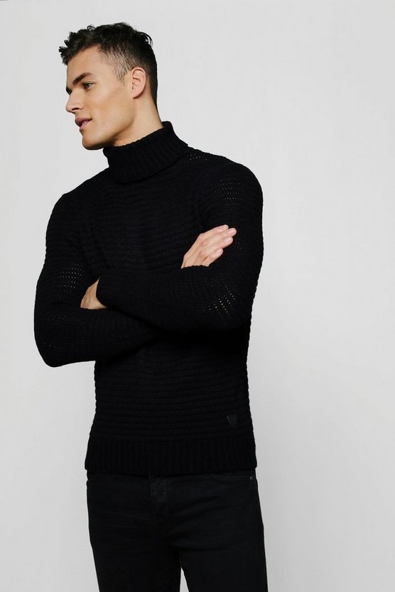 Roll Neck Ribbed Jumper