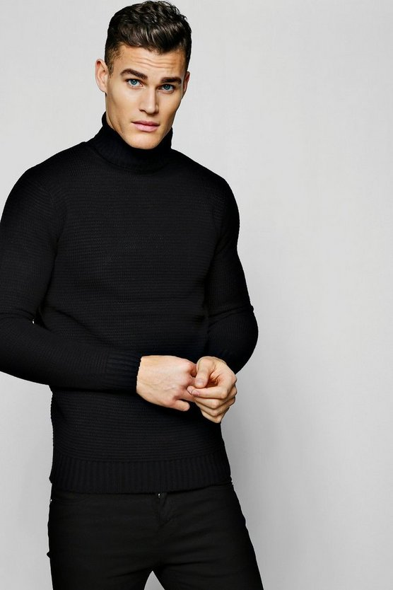 Black Roll Neck Ribbed Sweater