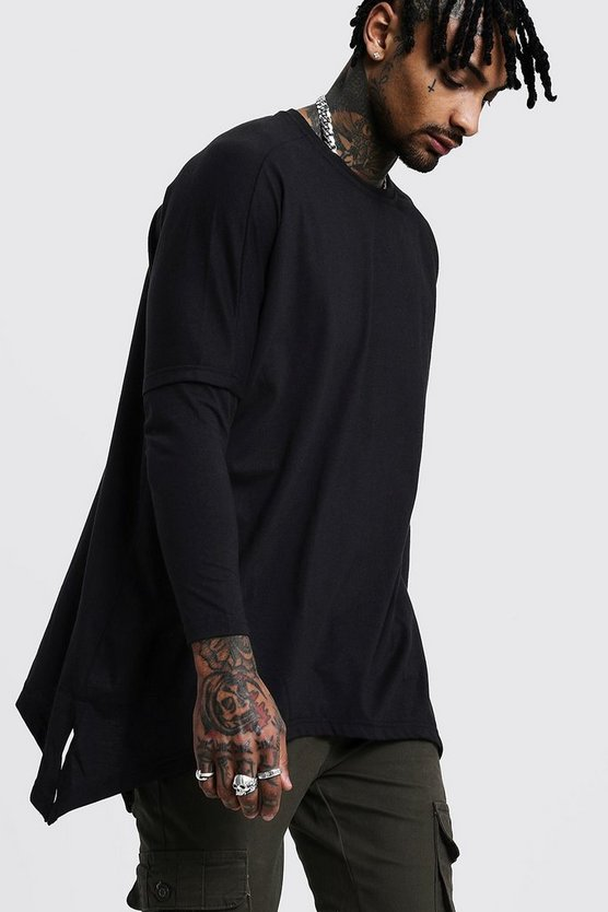 Drop Shoulder Faux Layer T-Shirt