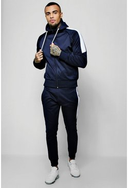 Mens Navy Tricot Zip Through Tracksuit With Contrast Panel