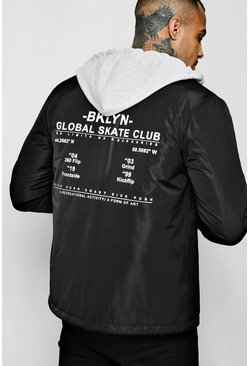 Mens Black Brooklyn Back Print Hooded Nylon Coach Jacket