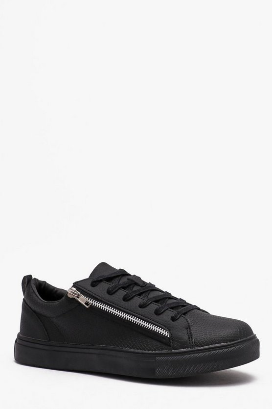 Mens Black Lace Up Zip Side Trainer