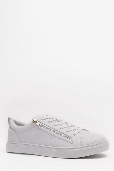 White Lace Up Zip Side Trainer