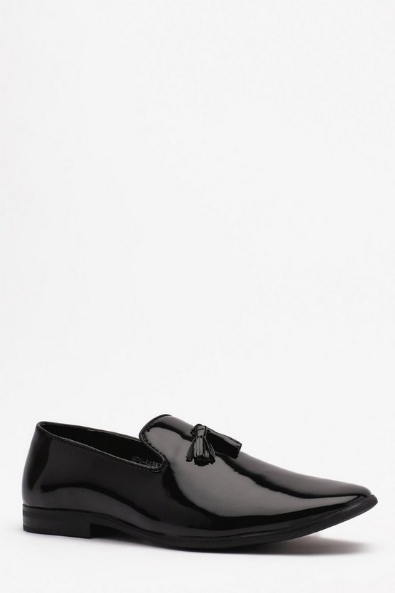 Mens Black Hi Shine Tassel Loafer