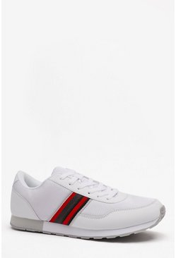 Mens White Side Tape Detail Trainer