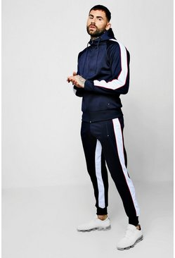 Mens Navy Zip Through Tricot Tracksuit With Side Panels