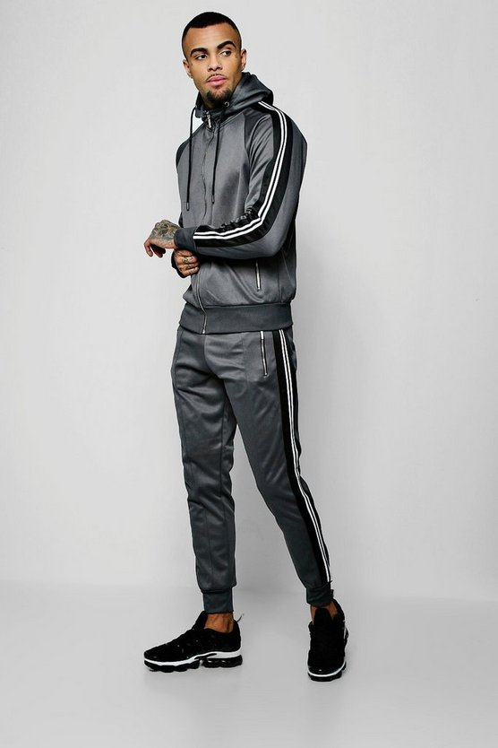 Mens Dark grey Zip Through Tricot Tracksuit With Side Tape