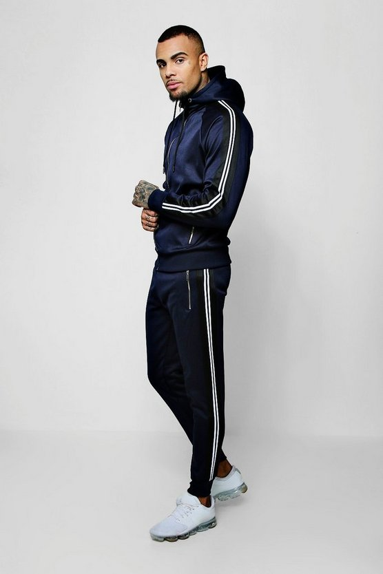 Mens Navy Zip Through Tricot Tracksuit With Side Tape