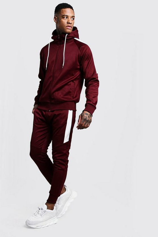 Tricot Zip Through Tracksuit With Contrast Panel