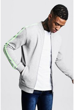 Mens Grey Neon Tape Detail Fleece Bomber