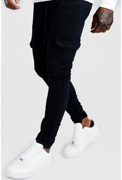 Navy Skinny Fit Cargo Trousers