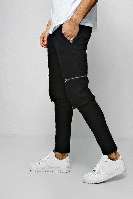 Mens Black Tapered Fit Zip Pocket Cargo Trousers