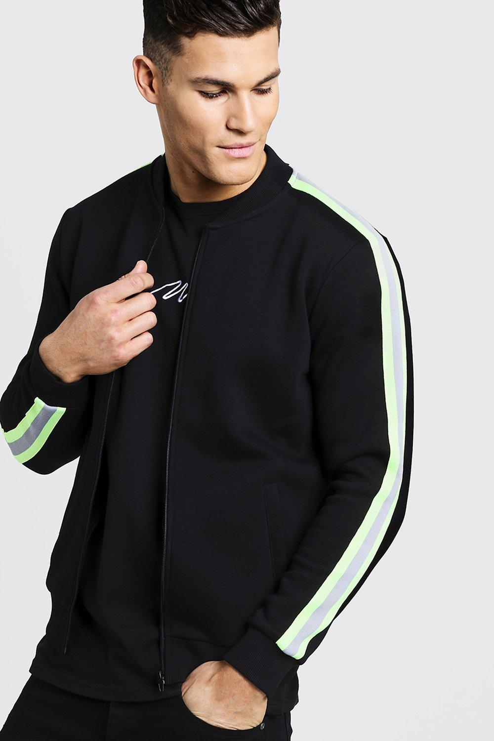 Neon Tape Detail Fleece Bomber