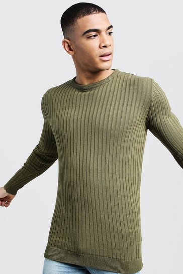 Mens Khaki Long Sleeved Muscle Fit Ribbed Crew Neck Jumper