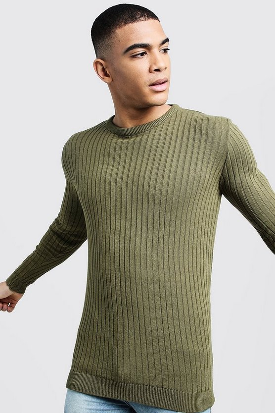 Mens Khaki Long Sleeved Muscle Fit Ribbed Crew Neck Sweater