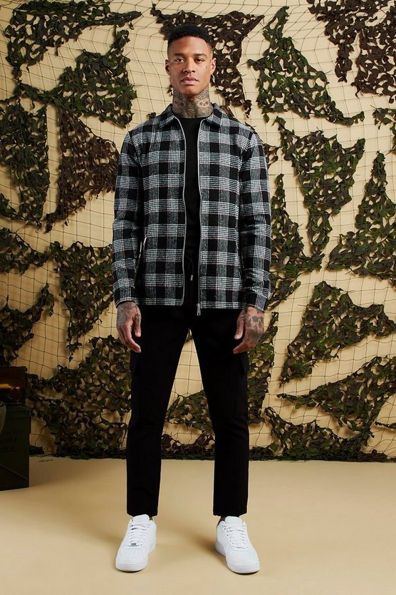 Black Heavyweight Brushed Flannel Check Zip Shacket